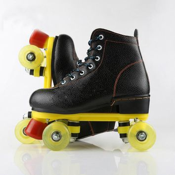 Unisex Double Line Adult PU Leather Quad Parallel Figure Skates Shoes Boots PU Wheels Shockproof With Brake Breathable Black
