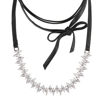 Fallon Jagged Edge Crystal/Leather Choker at INTERMIX | Shop Now | Shop IntermixOnline.com