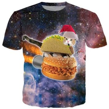Harajuku women men 3d galaxy print t shirt space Christmas Hamburger Taco cat printed Tshirts t-shirts tops tees rop
