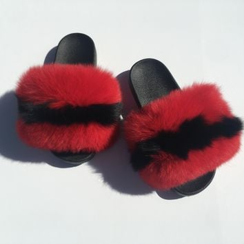 Mollypop fox fur slides red fur slides black fur slippers