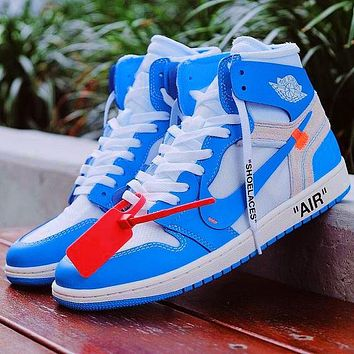 Air Jordan 1 x OFF-WHITE UNC AJ1 OW North Carolina Blue
