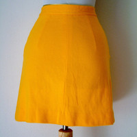 Vintage 1960s Skirt Goldenrod Yellow Skirt Mod Skirt High Waisted Skirt Front Button Mini Skirt Womens Extra Small