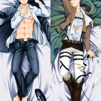 Cool Attack on Titan Hot Japanese Anime  Male Levi Eren Yeager Cute Hugging Body Pillow Case Cover Dakimakura BL AT_90_11