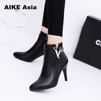 2018 Spring Autumn Stiletto Thin High Heels Pointed Toe Faux Leather Zipper Style Sexy Ankle Womens Boots Bota Feminina