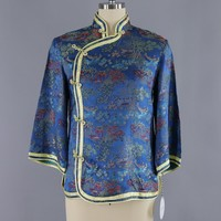 Vintage Blue & Yellow Satin Brocade Asian Blouse