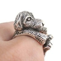 3D Short Hair Old English Sheepdog Shaped Animal Ring in Silver