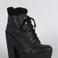 Qupid Sweater Cuff Lace Up Lug Sole Platform Heeled Combat Ankle Boots