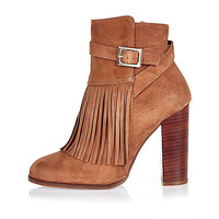 Brown suede fringed ankle boots - boots - shoes / boots - women