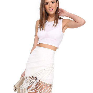Bodycon Fringed Mini Skirt