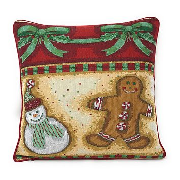 "DaDa Bedding Gingerbread Sweets Throw Pillow Cover Tapestry Cases 16"" x 16"" (12917)"
