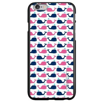 DistinctInk® Spigen ThinFit Case for Apple iPhone or Samsung Galaxy - Pink Navy Cartoon Whales