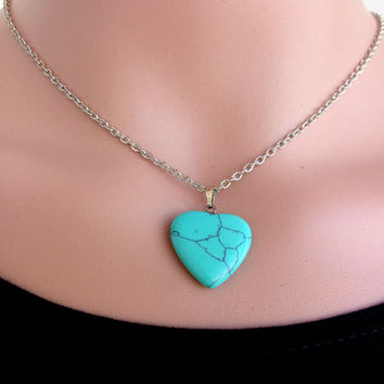 TURQUOISE HEART  PENDANT Handmade Turquoise Patine Silver Pendant Unique Necklaces Wire Silver Patine Turquoise