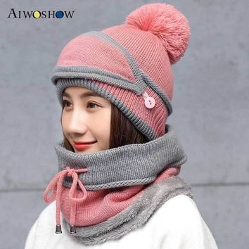 Winter Knitted Wool Hat Warm Mask Collar Three Sets Face Cap Protection Women Ball Caps Scarf Girls Cold Weather Accessory 2018