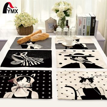 Cute Cartoon Cat Printed Table Napkins for Wedding Party
