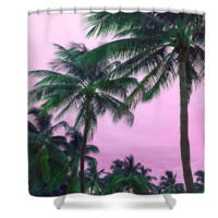 Pink Palm Trees Tropical Nature Polyester Fabric Shower Curtain