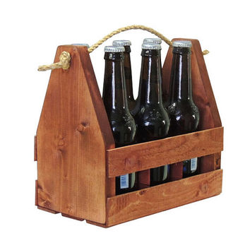 Wooden Craft Beer 6 Pack Bottle Carrier, Tote, Crate, Caddy Fits 6 12oz Bottles. Dyed Brown Fully Assembled