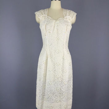Vintage Lace Dress / 1960s Cocktail Dress / White Lace Dress / Summer Wedding Dress / Le Bon Dress / Mad Men / Size Small S 4 6