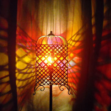 Cage Floor Lamp Upcycled From Reclaimed Salvaged Materials Iron Metal
