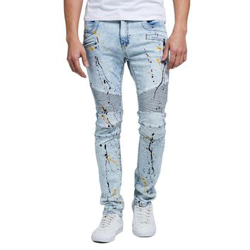 Men's Paint Stained Style Skinny Jeans