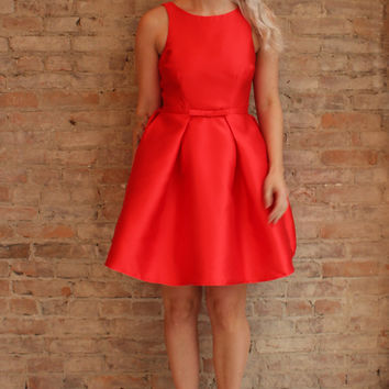 Louisa Fit and Flare Dress - Red