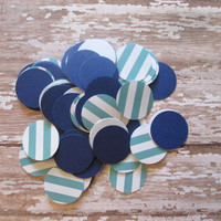 Navy and Aqua Circle Confetti - Circle confetti, navy aqua, striped circles, table confetti, aqua stripe, nautical theme, nautical confetti