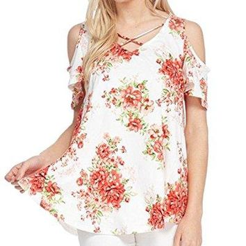 Auxo Women Cold Shoulder Tunic Tops Short Sleeve Round Neck T Shirt Floral Hawaiian Summer Blouse