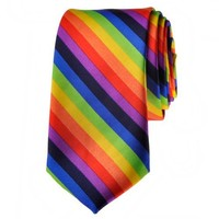 TopTie Unisex Fashion Diagonal Colorful Rainbow Stripe Skinny 2 Inch Necktie