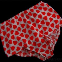 The Original Fancy Pants White w Red Hearts Dual Ball Pockets Tennis Panties NEW