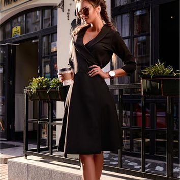 Fall Womens Dresses Arrival Vintage Casual Dress Autumn Winter Prom Party Midi Dresses Plus Size Women Clothing