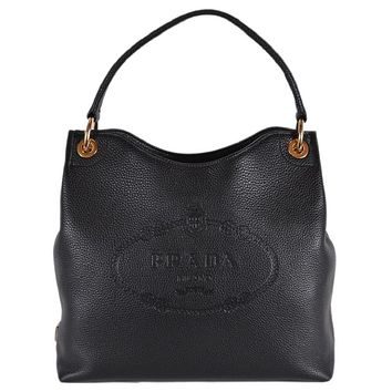 Prada Women's Vitello Daino Black Leather Satchel Bag Handbag 1BC051