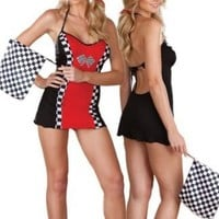 Sexy Racer Girl Lingerie Costume - 4 Piece Set