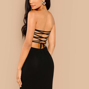 Lace Up Back Bodycon Tube Dress