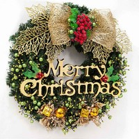 40 cm Merry Christmas Wreath Garland Window wall Door Decorations Bowknot Ornament Hot Christmas decorations for home 2017