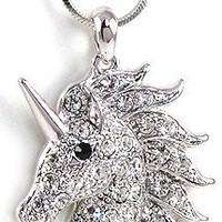 "Magical 1.25"" Crystal Silver Tone Unicorn Necklace Jewelry Gift for Girls Teens Women"