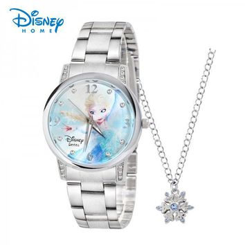 Disney girls Frozen Wristwatches Stainless Steel quartz-watch Elsa Princess watches with snowflake Necklace