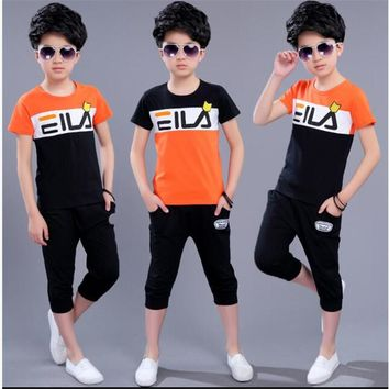 2017 new children's clothing boy summer suit big boy boy summer short sleeve sports suit two sets of tide