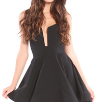 CUTOUT RUFFLED SKATER DRESS - BLACK