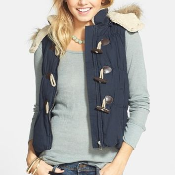 Junior Women's Coffee Shop Toggle Vest with Detachable Faux Fur Trim Hood