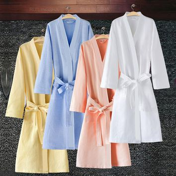 On Sale Men Women Suck Sweat Cotton Waffle Bathrobe Plus Size Sexy Kimono Bath Robe Mens Summer Dressing Gown Male Lounge Robes