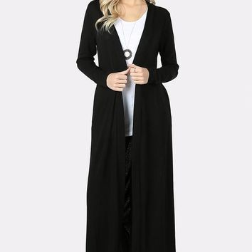 Long Sweater Cardigan with Side Pockets