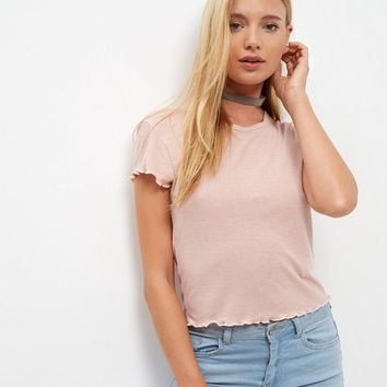 Pink Textured Trim T-Shirt