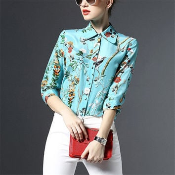 New Women Floral Print Blouse Turn-down Collar Full Sleeve Tee Shirt Casual Button Blouses Fashion Plus Size Blusas 72196 SM6