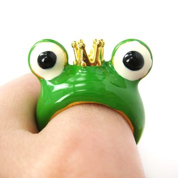 Frog Prince with Crown Enamel Animal Ring in US Size 6.5 and 7 | Animal Jewelry