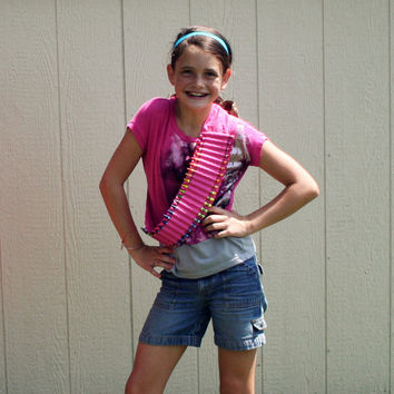 limited edition -- neon pink crayon ammo belt for kids