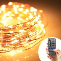 New upgrade / Homestarry® Dimmable String Lights Pro / 40Ft / 240 LED's Warm White/Copper Wire /Warm White with Wireless Handheld Remote Control / 12V Power Adapter /Perfect application for Christmas Wedding and Party
