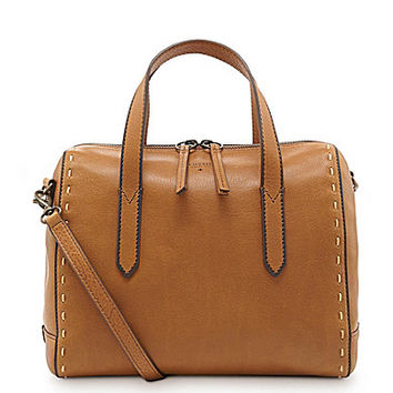 Fossil Sydney Pick Stitch Convertible Satchel - Brown Sugar