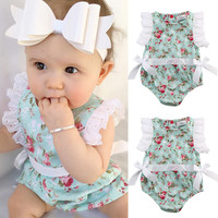 Cute Newborn Toddler Baby Girl Clothing Flower Bow Cute Clothes Lace Floral Bodysuit Outfits Summer 0-24M