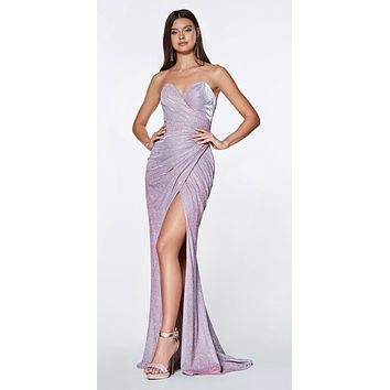 CLEARANCE - Long Strapless Glitter Gown Lavender With Sweetheart Neckline Leg Slit (Size 2XL)