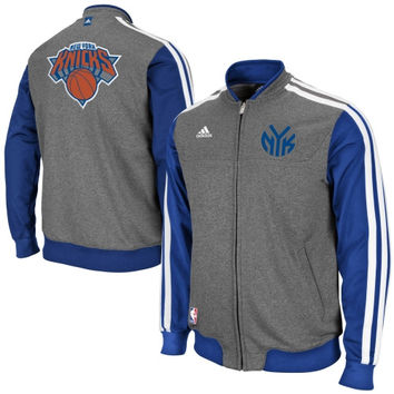 adidas New York Knicks On-Court Second Half Jacket - Gray/Royal Blue