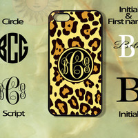 Monogram Yellow Leopard-iPhone 5 case, iphone 4s case, iphone 4 case, Samsung GS3 case-Silicone Rubber or Plastic Case, Phone cover